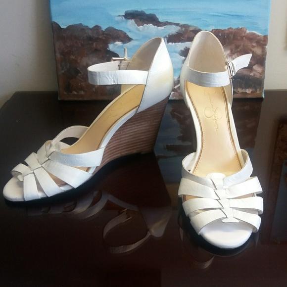 Jessica Simpson Shoes - White Leather Jessica Simpson Wedge Sandal
